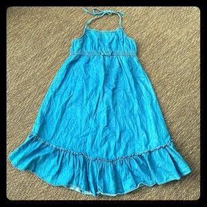 Girls thin denim halter dress